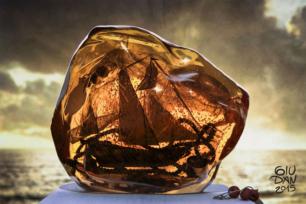 Amber pirate galleon cgi stillife illustration