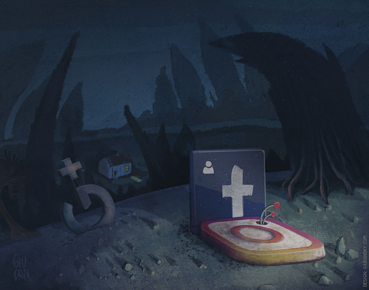 Social tombstones illustration