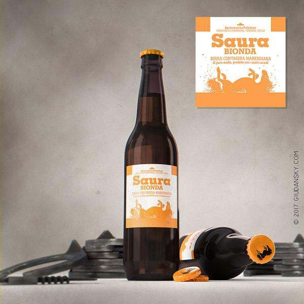 Saura beer label design